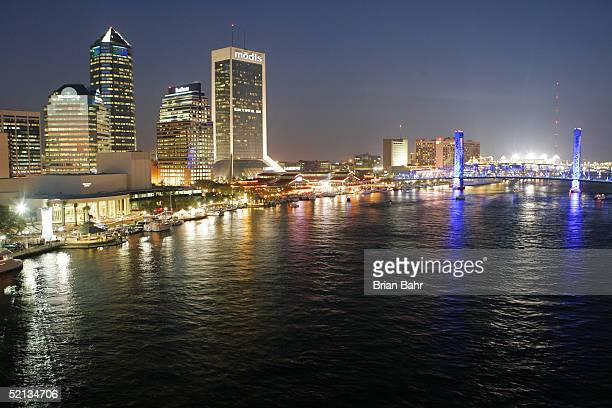 Night falls over downtown with the lights on at Alltel Stadium on February 4 2005 before Super Bowl XXXIX in Jacksonville Florida