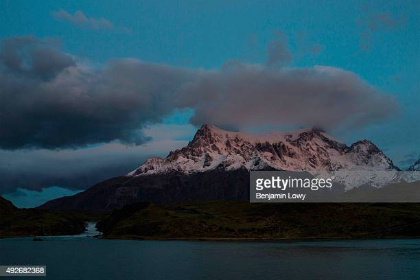 Night falls over the mountains of Chile's Torres del Paine National Park March 9 2015