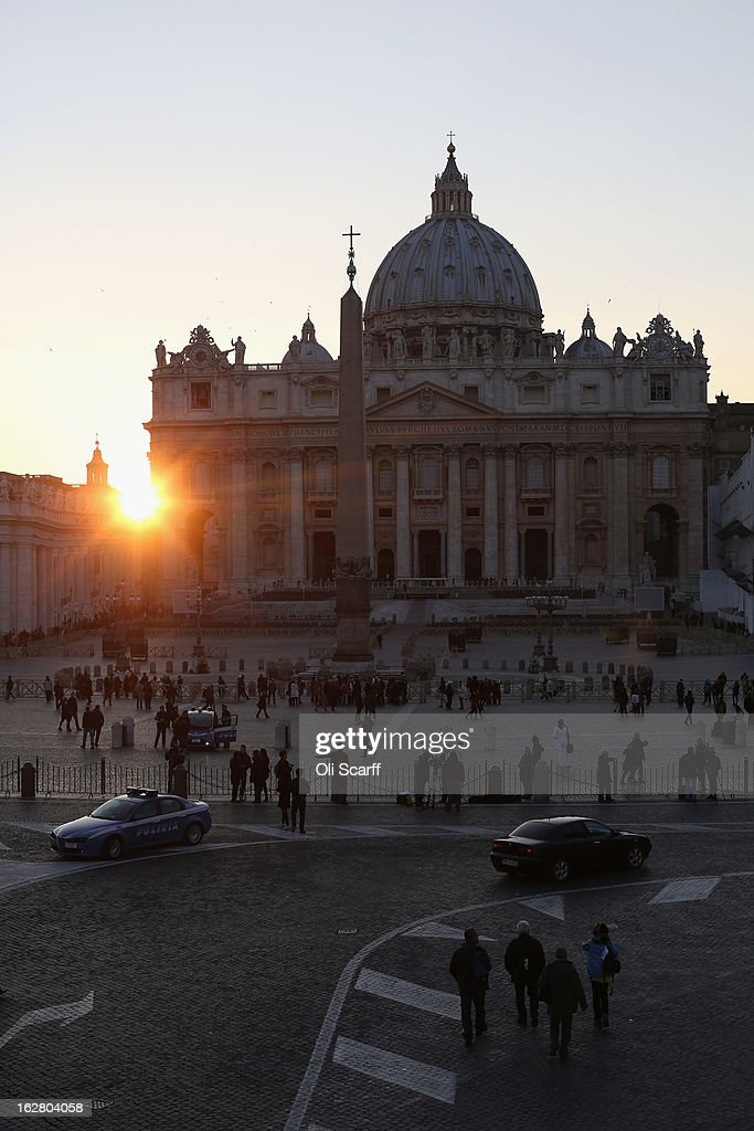 Night falls over Vatican City on February 27, 2013 in Rome, Italy. The Pontiff has attended his last weekly public audience before stepping down tomorrow. Pope Benedict XVI has been the leader of the Catholic Church for eight years and is the first Pope to retire since 1415. He cites ailing health as his reason for retirement and will spend the rest of his life in solitude away from public engagements.