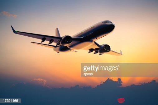 Night flight of a passenger jet airplane