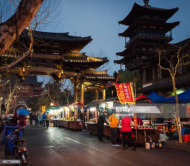 Night food market stalls in Hangzhou, China