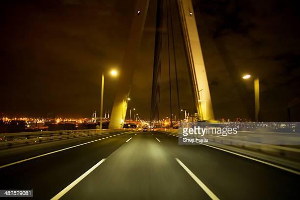 Night highway to the Yokohama city in Japan