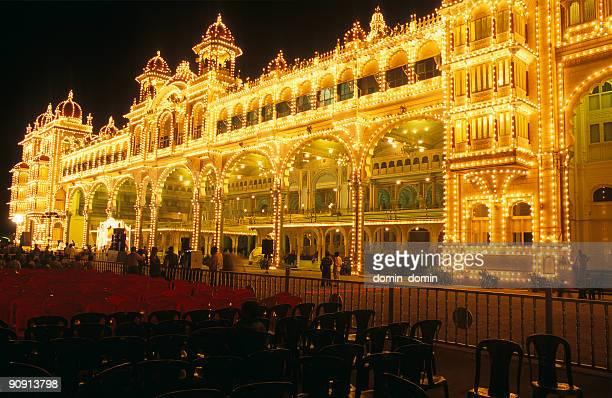 Night illuminations of Mysore Palace, Mysore, Karnataka, India