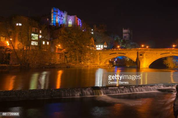 Night in Durham at Lumiere festival, North England.
