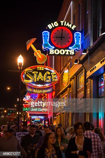 Night in neon lights of Broadway in Nashville Tennessee
