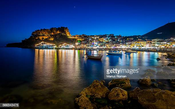 Night in Parga, Epirus, Greece.