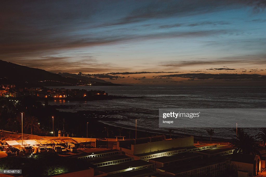 Night in Puerto de la Cruz in Tenerife Spain : Stock-Foto
