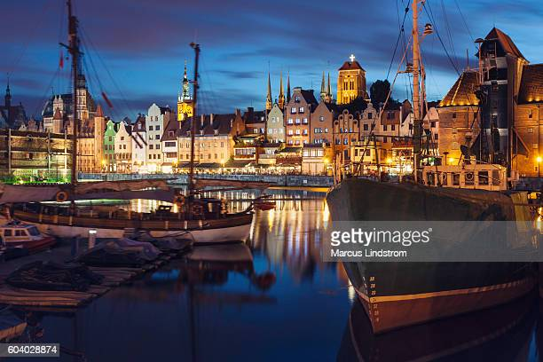 Night in the city of Gdansk