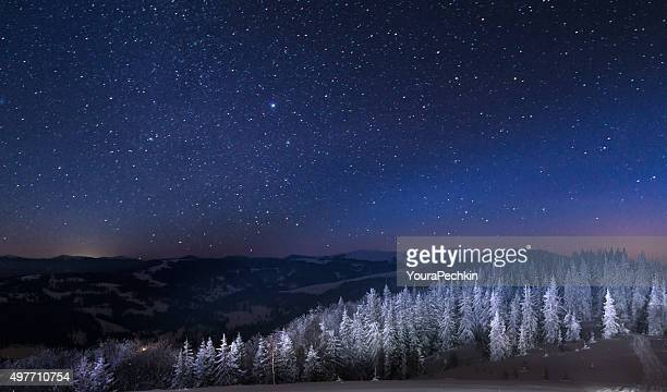Night in the snowy mountains