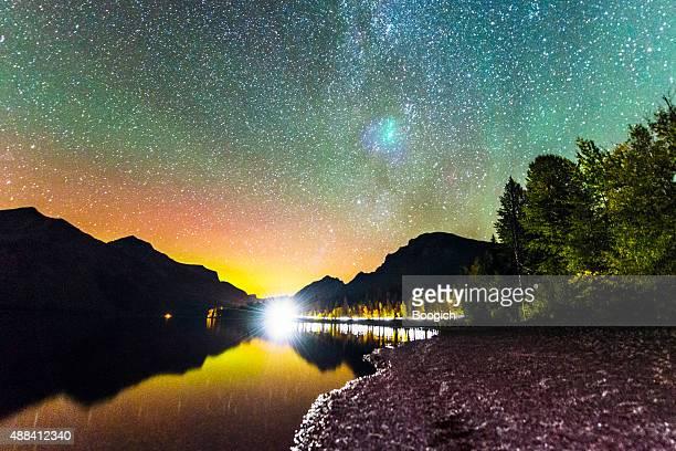 Night Landscape Lake McDonald Glacier National Park Western Montana USA