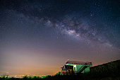 night landscape mountain and green hut milky way  galaxy background , thailand , long exposure , low light