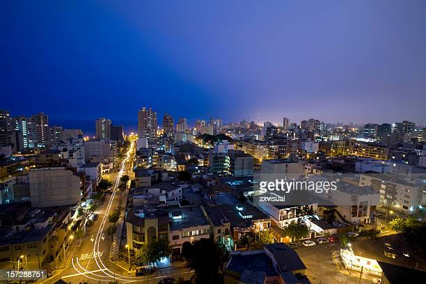 Night landscape shot of Miraflores Lima, Peru