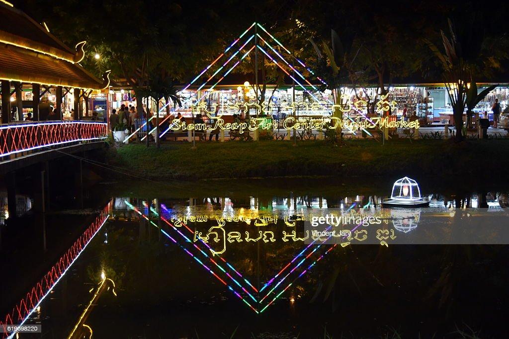 Night lighting reflection on mekong river  Siem Reap Cambodia : Stock Photo