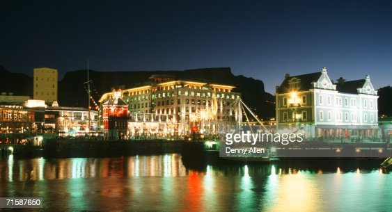 Night Lights At The Victoria Alfred Waterfront Table Mountain Behind Stock Ph