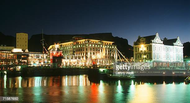Night Lights at the Victoria & Alfred Waterfront - Table Mountain Behind
