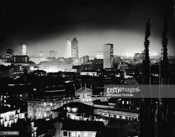 Night lights illuminating Milan Milan 1962