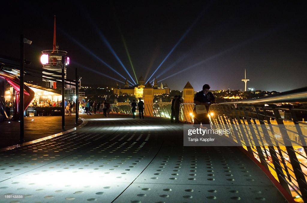 Night Lights on Las Arenas Building : Stock Photo