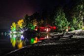 Night lights on the lake