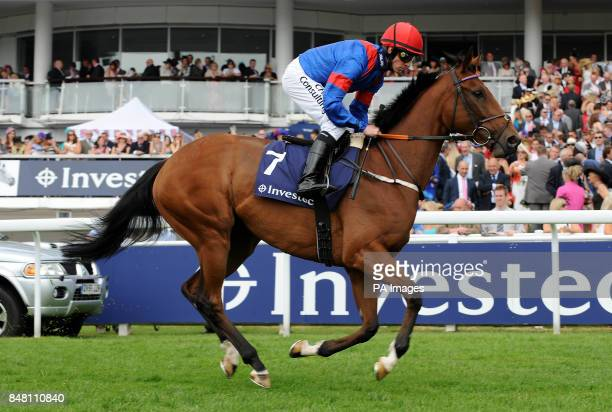 Night Lily ridden by jockey Jim Crowley goes to post in the Princess Elizabeth Stakes