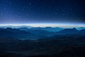 Night mountains before sunrise in the Egypt. Sinai Peninsula, view from the mountain of Moses
