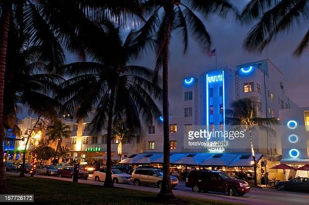 Night neon Miami Beach colorful hotels bars Florida