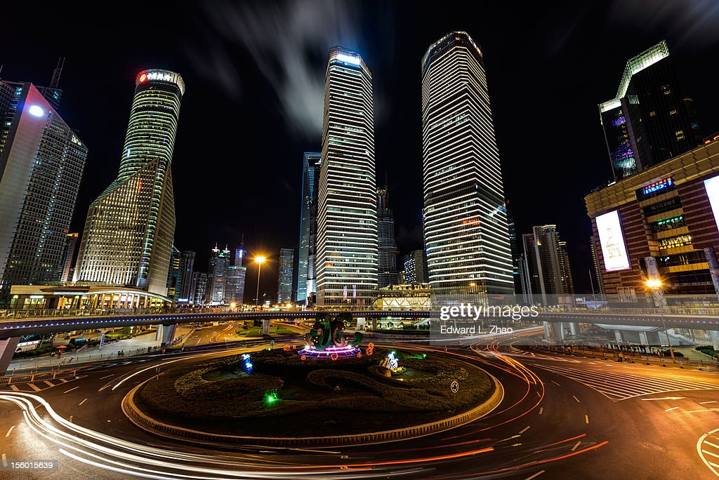 Night of Lu Jia Zui Financial Town, Shanghai : Stock Photo