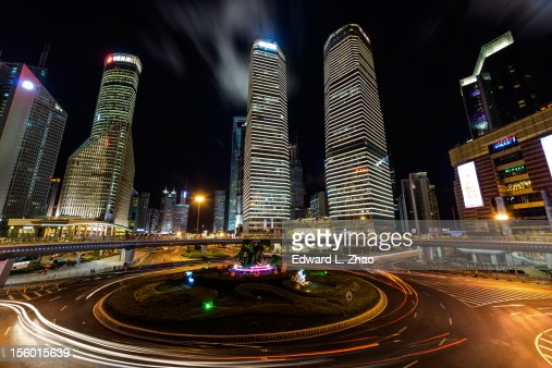 Night of Lu Jia Zui Financial Town, Shanghai : Foto de stock
