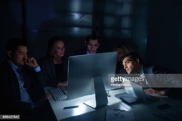 Night online meeting with foreign business partner