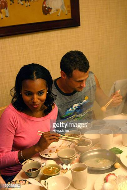 A night out with the actor Kerry Washington on Saturday night October 2 2004This imageKerry Washington left with the actor David Moscow at Minni's...