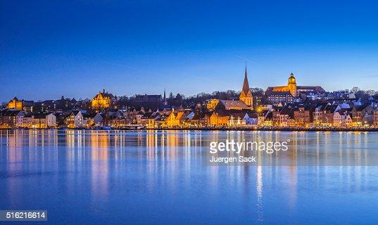 Night over Flensburg and Flensburg Fjord