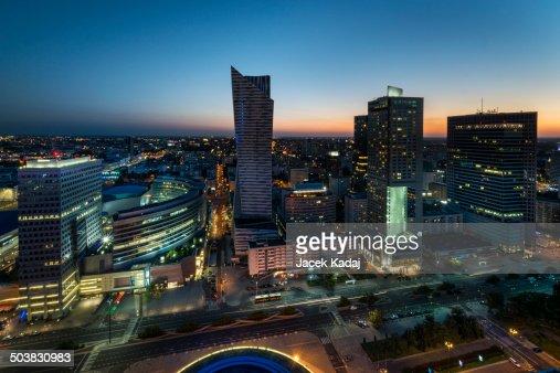 Night panorama of Warsaw downtown