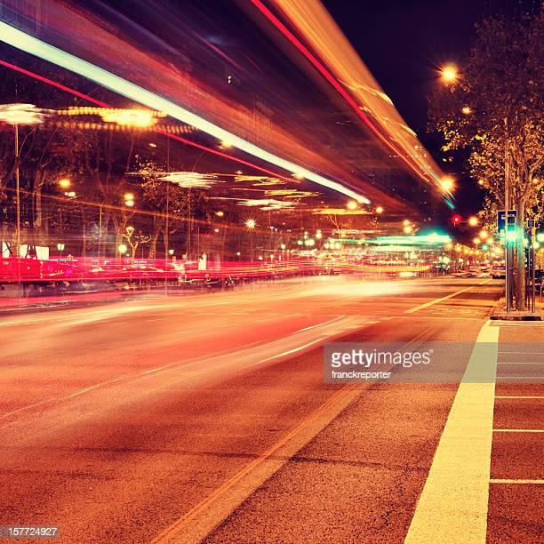Di notte il traffico ferroviario di Barcellona