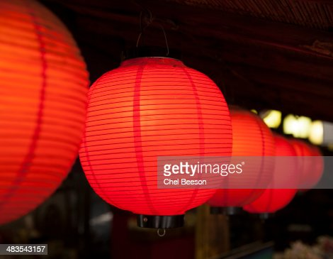 night red paper lanterns Iwakuni Japan