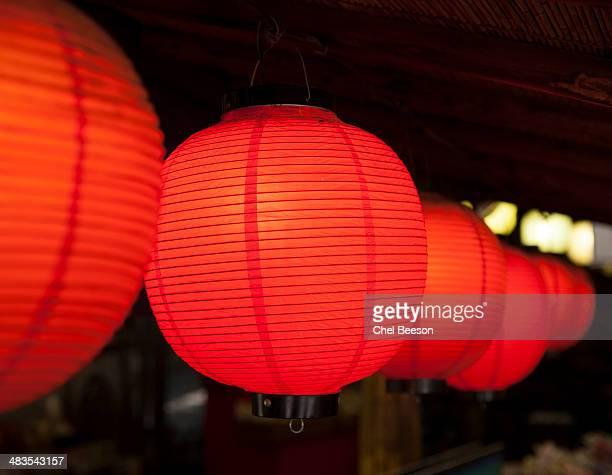 night red paper lanterns Iwakuni Japan