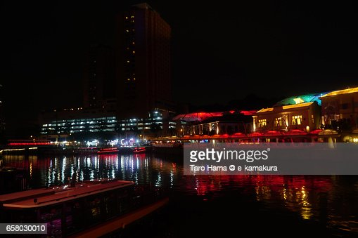 Night river side of Singapore River : ストックフォト