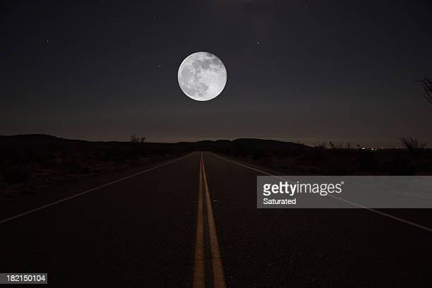 Night Road with Moon