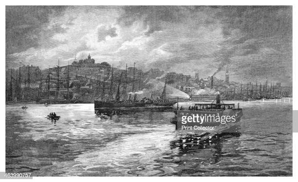 Night scene Darling Harbour Sydney New South Wales Australia 1886 Darling Harbour is a locality of Sydney Wood engraving from 'Picturesque Atlas of...