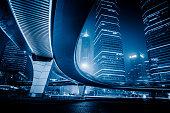 night scene of lujiazui financial district,shanghai,china.