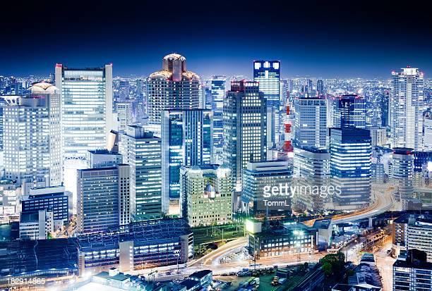 Night scene of Osaka, Japan's financial center