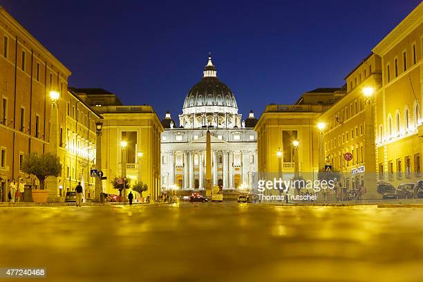 Night Scene of St Peter's Basilica and St Peter's Square on June 11 in Vatican Vatican City By Catholic tradition the basilica is the burial site of...