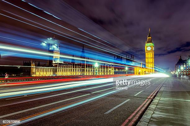 Night Scene with Cars' Tails in front of Big Ben