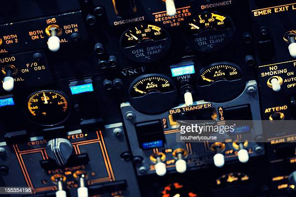 Night Shot of Boeing 737-300 Overhead Panel