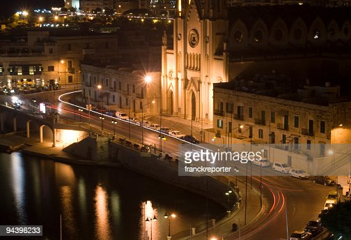 night shot of cathedral in maltese island - st julian