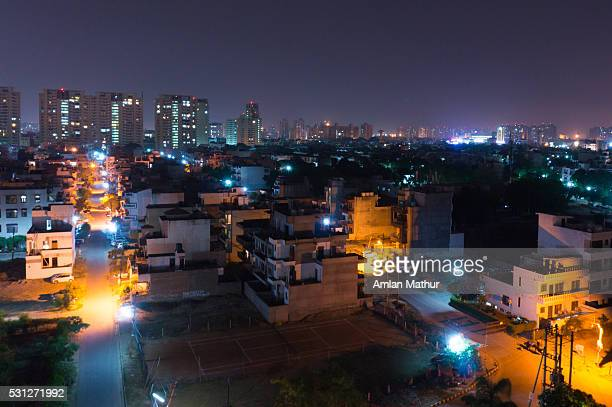 Night shot of Gurgaon Delhi from high vantage point