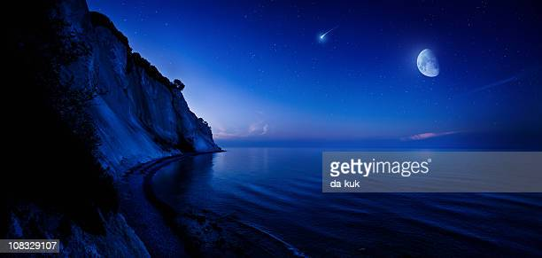 Night shot of mountains and sea
