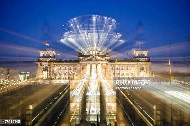 Night shot of the Reichstag Building seat of the German parliament on March 03 2014 in Berlin Germany