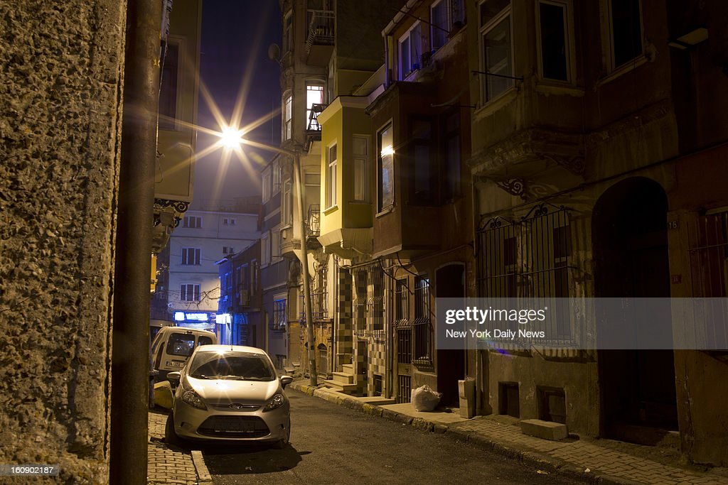Night shot of the street where slain Staten Island mom Sarai Sierra stayed while visiting Istanbul, Turkey. The apartment is on the right side with tiled first floor walls.