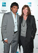 M Night Shyamalan and Jane Rosenthal during M Night Shymalan Hosts First Ever Reading From His Book 'Lady In The Water' April 29 2006 at Tribeca...