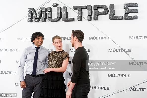 M Night Shyamalan Anya TaylorJoy and James Mcavoy attend 'Multiple' photocall at Villa Magna Hotel on January 12 2017 in Madrid Spain