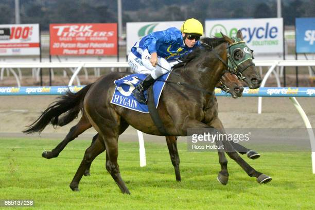 Night Sight ridden by Jack Martin wins the XXXX Gold Maiden Plate at Racingcom Park Racecourse on April 06 2017 in Pakenham Australia